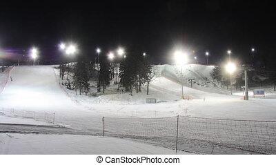 Skiing resort night timelapse