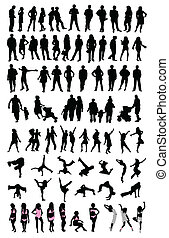 silhouette people set