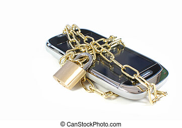 Locked mobile phone - Mobile phone with a chain and padlock