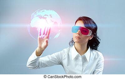 Brunette wearing 3d glasses