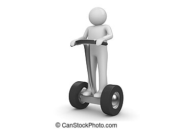 Segway driver - Character on modern ecological electric...