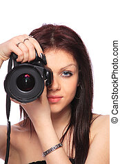 Woman with DSLR isolated - Young woman with DSLR isolated