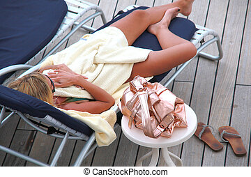 Cruise vacation. - Female beauty relaxing on a cruise...