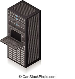 Server Rack - Single Server Rack Isometric 3D Icon (part of...