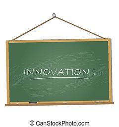 Image of a chalkboard with the word Innovation isolated on a white background.