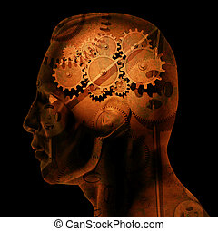 Brain Gears - Image of various gears inside of a mans head...