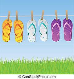 Sandals on Clothesline - Image of a colorful scene with flip...