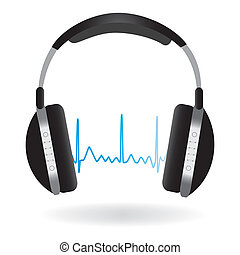 Headphones and Soundwave - Image of headphones and soundwave...