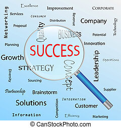 "Image of a magnifying glass focusing on the word ""Success""."