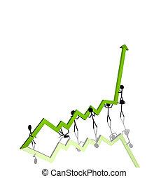 Stick Figures Chart - Stick figures holding up a 3D chart.