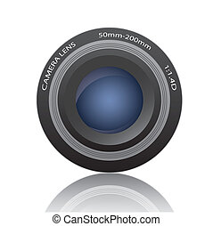 Camera Lens Image - Image of a camera lens isolated on a...