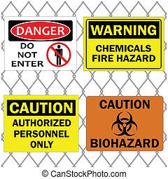 Danger and Caution Signs on Fence