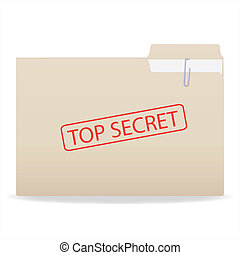 Image of a folder with a Top Secret stamp isolated on a...