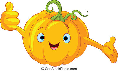Pumpkin Character giving thumbs u - Illustration of a...