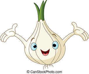 Onion Presenting Something - Cartoon cute onion presenting...