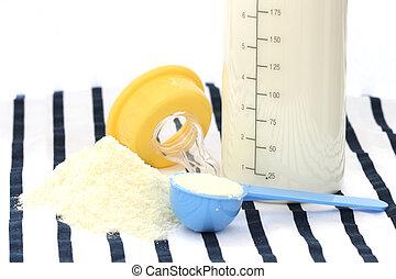Suckling child dried milk with feeder bottle - Detail view...
