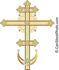 Cross - Ornate cross on white background, vector...