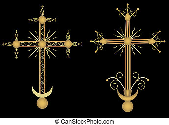 Two crosses on black background, vector illustration