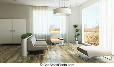 design of lounge room, 3d render