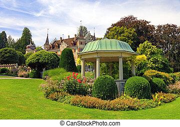 suiza, flores, enramada, viejo, castillo