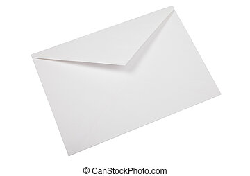 Unused white envelope isolated on white background