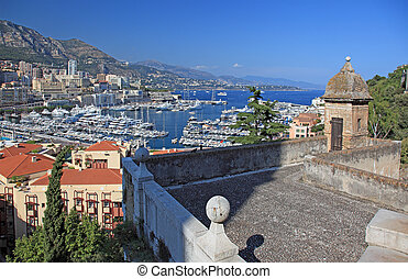 Cityscape view of Monaco principality from old tower high point.