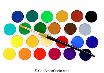 Paint brush with watercolors