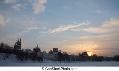 Novodevichy Convent sunset time lap - Novodevichy Convent in...