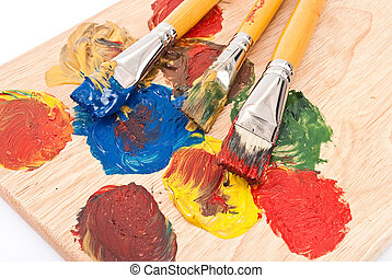 Artist's palette with brushes