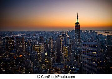 panorama of manhattan at sunset, new york