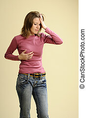 woman suffering - white adult having menstrual symptoms