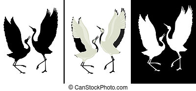 Bird - Black silhouette and white silhouette of dancing...