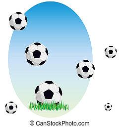 Balls on a grass