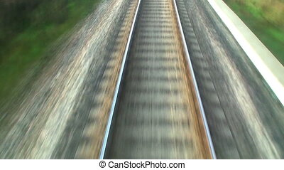 Close view of railroad track at high speed
