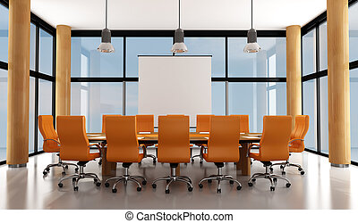modern meeting room - wooden and orange modern meeting room...