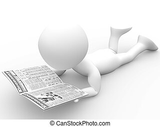 3D human reading the newspaper