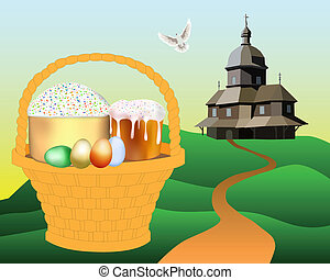 basket with Easter cakes and colored eggs
