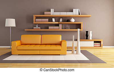 orange and brown living room with modern wooden bookshelf