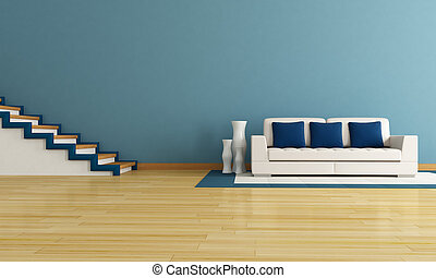 blue living room with staircase and modern white couch