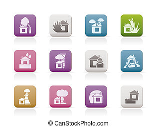 home and house insurance and risk icons - vector icon set