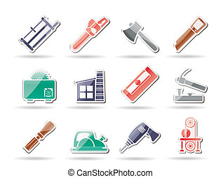 Woodworking industry and Woodworking tools icons - vector...