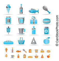 shop, food and drink icons