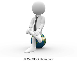 3D man sitting on Earth