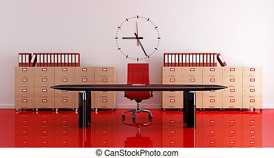 modern office - red and black modern office - rendering
