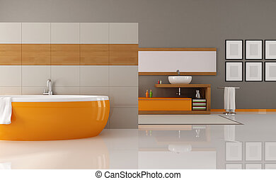 orange and brown bathroom - contemporary orange and brown...