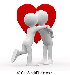 Woman kissing man with a heart background