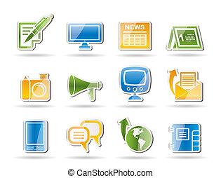 Communication channels and Social Media icons - vector icon...