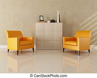 modern living room - two orange armchair in a modern lounge...