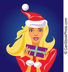 christmas girl with gift