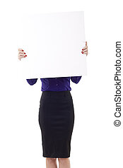 business woman holding blank sign